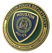 U.s. Space City | Houston Police Department | Gold Plated Challenge Coin