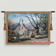 Cottage Tapestry Wall Hanging Jacquard Weave Large Gobelin Aubusson 100 Cotton