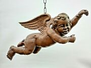 Large Beautiful Antique Carved Barok Winged Angel In Wood