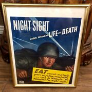 1944 Wwii Night Sight Can Mean Life Or Death Eat Carrots Mess Hall Framed Poster