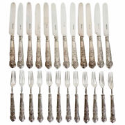 24 Antique English Victorian Aaron Hadfield Sterling Silver King's Knives And Fork