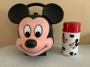 Vintage And Rare Disney Aladdin Mickey Mouse Head Lunch Box And Thermos