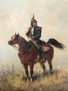 1886 Emile Bujon Oil On Canvas Painting Cuirassier French Calvary 19th Century