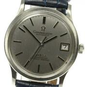 Omega Constellation Cal.1001 Date Antique Automatic Mens Ss Leather Belt [e0515]