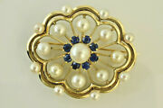 Estate Pearl And Sapphire Pin