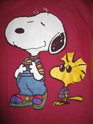 Vintage Peanuts Gang Label - Snoopy In Overalls And Woodstock Sweater Lg T-shirt