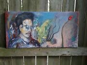 9 Expressionism - Original Acrylic Painting 10 X 20 Inch - Canvas Wall Art