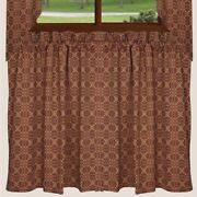 New Primitive Colonial Tan And Barn Red Loverand039s Knot Cafe Tiers Curtains 36