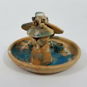 Potterand039s Field Stoneware Angel Platter Hand Made Candle Holder Hard To Find