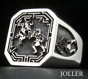 Signet Ring Theseus And The Minotaur Epic Battle Octagon Solid Silver 925 Joller