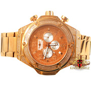 Menand039s Stainless Steel Tarnish Free Real Diamond 1.83 Ctw Rose Gold Tone Watch