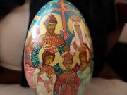 Vintage Large Hand Painted Russian Religious Wooden Egg