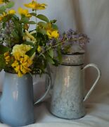 Vintage French Enamelware Coffee Pot, Lid And Grain Container, Marble Enamelware
