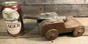 """Brass Naval Cannon With Wood Carriage Vtg Signal Cannon 6.75"""" Wow Original"""