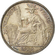 [488423] Coin, French Indo-china, 50 Cents, 1936, Paris, Ms, Silver, Km4a.2