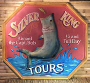 """Vintage 1970's Silver King Tours Wood Sign Raised Fish 43 1/4"""" X 39"""""""