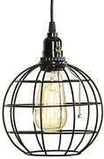 Global Industrial Edison Bulb Black Pendant Cage Light 59 Pull Chain Switch
