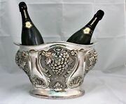 20th Century Italian Silver Hand Engraved Grapes And Vines Wine Cooler 1970s