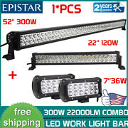 52inch Straight +22and039and039 +7and039and039 36w Led Work Light Bar Combo Lights Offroad Ford Suv