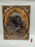 Beautiful Carved Panel In Wood With Virgin Mary
