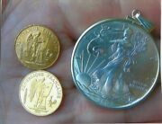 Gold And Silver Special Two Gold Angels 20 Franc And American Silver Eagle