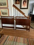 Pair Of Mcm Solid Mahogany Baker Furniture Twin Headboards W/bed Rails Exc.
