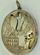 Antique Imperial Russian Silverandmother-of-pearl Orthodox Locket Pendant