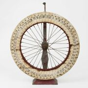 Antique Fair Roulette Game Wheel Of Chance Painted Wood Folk Art 26-1/4 Tall