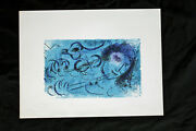 Marc Chagall And039the Flute Player Original Lithograph Blue Not Signed Very Rare