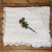 Huge French Vintage Pure Cotton Ivory White Crochet Bedspread Coverlet