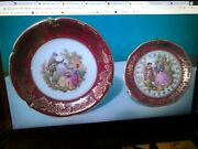 2 Vintage Miniature Plates From Limoges-with Stands -and039georgian Couple- Gold Trim