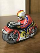 Tin Coil Spring Type Motorcycle Toy Vintage Retro From Japan L2