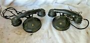 Pair Of Antique Vintage Child Play Metal Tin Rotary Telephones