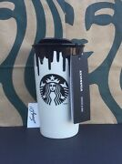 Starbucks Band Of Outsiders Ceramic Travel Cup / Black Drip 2014 New
