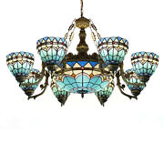 8+1 Light Chandelier Stained Glass Shade Blue Ceiling Lamp Chandelier