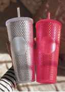 Starbucks Studded Cold Cup Tumbler Winter Holiday 2019 24 Oz Neon Pink And Silver