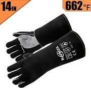 Rapicca Leather Forge Welding Gloves Heat Fire Resistant, Mitts For Oven Grill