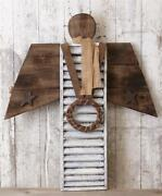 New Primitive Rustic Farmhouse Large Wood Shutter Angel Wreath Wall Hanging 38