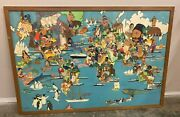 Vintage Key To The Map Of The World Jan Wijga Wildlife Pictorial World Map