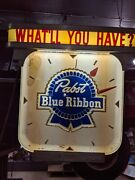 Vintage Pabst Blue Ribbon Clock 1950and039s Lighted Working Old Nice Bar Man Cave