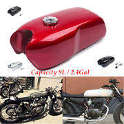 9l/2.4 Gallon Vintage Steel Motorcycle Cafe Racer Seat Fuel Gas Tankandcap Switch