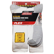 Mens Big Tall 6 Pack White Performace Crew Thick Work Socks - Sz 12-15