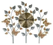 Large Metal Gold And Silver Butterfly And Leaf Wall Clock