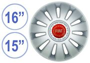 Fiat 15/16in Hubcaps Wheel Cover Auto Universal 4pcs Grey