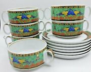 6 Versace Marco Polo Soup Bowl Cup W Saucer Set Rosenthal Retail 3000 Sale