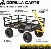 Gorilla Carts Gor1400 Heavy-duty Steel Utility Cart With Removable Sides 1400lb