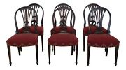 Lf22995ec Set Of 6 Vintage 1930s Federal Carved Dining Room Chairs