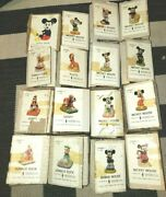 Lot Of 16 Mickey Mouse Vtg Tiwan Ceramic Figurine United China And Glass Co W/ Box