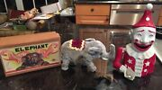 Rare Vtg Wind Up Circus Elephant In Box Made In Japan + Clown Bank