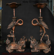 China Bronze Dragon Turtle Bird Red-crowned Crane Candle Holder Candlestick Pair